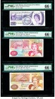 Gibraltar Government of Gibraltar 10 Pounds 1.7.1995 Pick 26 Three Examples PMG Gem Uncirculated 66 EPQ (3); Saint Helena Government of St. Helena 50 ...