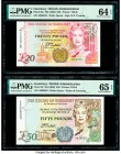 Guernsey States of Guernsey 20; 50 Pounds ND (1996); ND (1994) Pick 58a; 59 Two Examples PMG Choice Uncirculated 64 EPQ; Gem Uncirculated 65 EPQ.   HI...