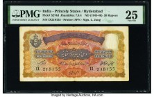 India Princely States, Hyderabad 10 Rupees ND (1945-46) Pick S274d Jhunjhunwalla-Razack 7.9.4 PMG Very Fine 25. Staples holes at issue, tape repair an...