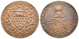Token de 1/2 penny 1794, CU 9,86 gr 29,3 mm  Avers : FOR THE CONVENIENCE OF SOCIETY  Revers : HALF PENNY TOKEN PAYABLE AT Ref : D&H-34 TTB/SUP