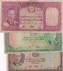 Afghanistan, 2-5-10 Afghanis, 1939, FINE, p21; p22; p23a, (Total 3 banknotes)