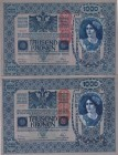 Austria, 1.000 Kronen, 1919, p59, (Total 2 adet banknot)