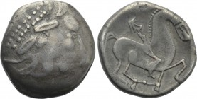 "EASTERN EUROPE. Imitations of Philip II of Macedon (2nd-1st centuries BC). Tetradrachm. Mint in the central Carpathian region. ""Kinnlos"" type."