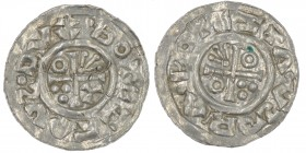 Czech Republic. Boleslav III 999-1002/3. AR Denar (19mm, 0.94g). Prague mint. •BOTEZTAVS•DVX, cross with annulets in three angles and triple pellets i...