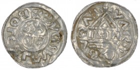 Czech Republic. Bohemia. Boleslav III 999 – 1002/3. AR Denar (19mm, 1.10g). Prague mint, moneyer IAH. +BOLEZLAVSDX, cross with one pellet in three ang...