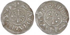 Czech Republic. Vladivoj 1002-1003. AR Denar (18mm, 1.57g). Prague mint. +LADIVOI(?)VD, cross with annulets in opposing two angles, one pellets in one...