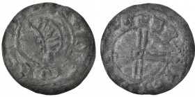 Denmark or Pomerania. After 1042. AR penning (18mm, 0.62g). Uncertain mint. Stylized head (?) / voided short cross in center annulet. Hauberg -. Good,...