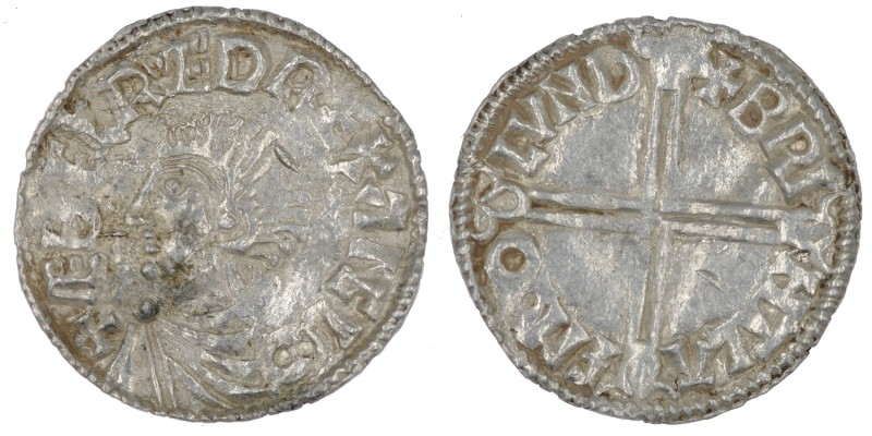 England. Aethelred II. 978-1016. AR Penny (19.5mm, 1.70g, 4h). Long Cross type (...