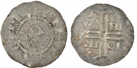 The Netherlands. Friesland. Hermann von Kalvelage 1020-1051. AR Denar (18mm, 0.71g). Emden mint. +H[EREM[ON], diademed bust right / +A-HN-TH-OH, in tw...