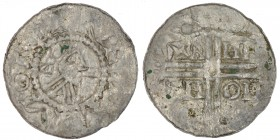 The Netherlands. Friesland. Hermann von Kalvelage 1020-1051. AR Denar (18mm, 0.62g). Emden mint. [+]H[ERE]MON, diademed bust right / +A-HN-TH-OH, in t...