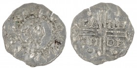 The Netherlands. Friesland. Hermann von Kalvelage 1020-1051. AR Denar (18mm, 0.61g). Emden mint. +[H]E[R]EMON, diademed bust right / +A-HN-TH-OH, in t...
