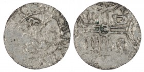 The Netherlands. Friesland. Hermann von Kalvelage 1020-1051. AR Denar (16mm, 0.51g). Imitation of Emden mint. Bust? / III-D-II-II, in two lines across...