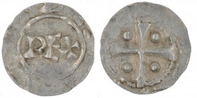 The Netherlands. Deventer. Heinrich II 1002-1014. AR Denar (16mm, 1.10g). Deventer mint. REX / Cross with pellets in each angle. Ilisch 1.5. Very Fine...