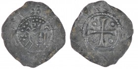 The Netherlands. Deventer. Wilhelm 1054-1076. AR Denar (18.5mm, 0.65g). Deventer mint. +VΛ[___], head right crosier in front / [__]N[__], cross with p...