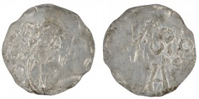 The Netherlands. Area around Tiel. Ca 1050s. AR Denar (17mm, 0.52g). Uncertain mint. Crowned bust facing / Cologne monogram retrograde. Group L with a...