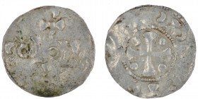 The Netherlands. Nijmegen-Tiel. Ca 995-1000. AR Denar (19mm, 1.23g). Unknown mint in the Nijmegen-Tiel region. S / COIOIII / [A], imitating Cologne mo...