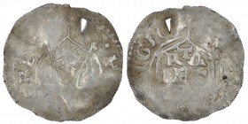 The Netherlands. Utrecht. Heinrich II 1002-1024. AR Denar (19mm, 0.78g). H[EINRICV]S REX, crowned bust facing / [RIS]T[IANA REL]IGIO, contour of chruc...