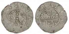 The Netherlands. Utrecht. Wilhelm de Ponte 1054-1076. AR Denar (17mm, 0.52g). Bishop facing with crosier and staff terminating in cross / ECT, over wa...