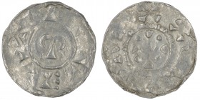 The Netherlands. Region of Utrecht. Otto III 983-996. AR Denar (19.5mm, 1.33g). Uncertain mint in the region of Utrecht. Omega in circle / Cross with ...