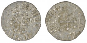The Netherlands. Bishop of Utrecht. Bernold 1040-1054 AR Denar (16mm, 0.66g). Groningen mint. Crosier with BACV VLS on each side / [__]ROИ[__], cross ...