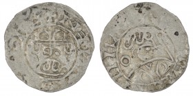 The Netherlands. Groningen. Wilhelm and Heinrich III/IV 1054-1076. AR Denar (18mm, 1.22g). Crowned bust facing / Head right, crosier in front, annulet...