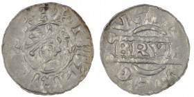 The Netherlands. Friesland. Bruno III 1038-1057. AR Denar (17mm, 0.66g). Dokkum mint. +HENRIC[VS RE], crowned head right, cross-tipped scepter before ...