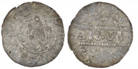The Netherlands. Friesland. Bruno III 1038-1057. AR Denar (16mm, 0.54g). Dokkum mint. [+HENRICVS RE], crowned head right, cross-tipped scepter before ...