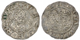 The Netherlands. Friesland. Ekbert II 1068-1077. AR Denar (18mm, 0.55g). Stavoren mint. VECBERTVSI, crowned bearded bust facing / +STAVERONI, two adja...