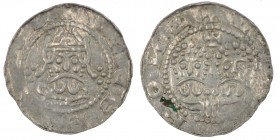 The Netherlands. Friesland. Ekbert II 1068-1077. AR Denar (16mm, 0.70g). Stavoren mint. VEG[__], crowned bearded bust facing / +V[__]ROИ[_], two adjac...