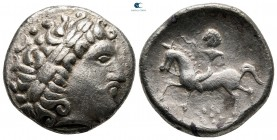 Carpathian region. Uncertain tribe circa 200-100 BC. 'Gallierkopf' type'. Tetradrachm AR
