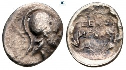 Akarnania. Thyrrheion. ΞΕΝΟΜΕΝΗΣ (Xenomenes), magistrate after circa 167 BC. Trihemiobol (?) AR