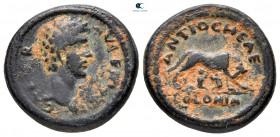 Pisidia.  Antakya.  Marcus Aurelius Sezar AD 144-161 olarak.  Bronz Æ