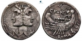 C. Fonteius MÖ 114-113.  Roma.  Denarius AR