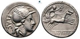 L. Rutilius Flaccus 77 BC.  Roma.  Denarius AR