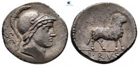 L. Rustius MÖ 76.  Roma.  Denarius AR