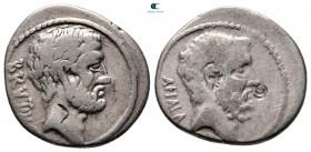 Q. Servilius Caepio (M. Junius) Brutus MÖ 54.  Roma.  Didrachm AR
