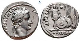 Augustus 27 BC-AD 14. Lugdunum (Lyon).  Denarius AR