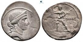 Augustus 27 BC-AD 14. İtalya'da belirsiz darphane, muhtemelen Brundisium veya Roma.  Denarius AR