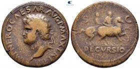 Nero AD 54-68.  AD 66'ya çarptı. Lugdunum (Lyon).  Sestertius Æ