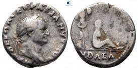 """Vespasian AD 69-79.  """"Judaea Capta"""" hatıra sayısı.  MS 69 Aralık-MS 70'in başlarında çarptı. Roma.  Denarius AR"""