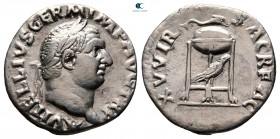 Vitellius AD 69. Nisan - Aralık MS 69 çarptı. Roma.  Denarius AR