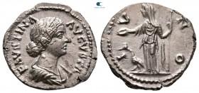 Faustina II AD 147-175.  AD 170-176'ya çarptı.  Roma.  Denarius AR
