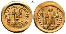 Justinianus AD 527-565.  İstanbul.  10. ofis.  Solidus AV
