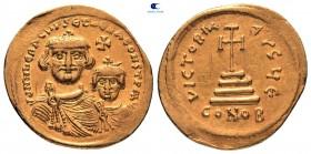 Herakleios ile Herakleios Konstantin AD 610-641.  616-625 dolaylarında vuruldu.  İstanbul.  5. ofis.  Solidus AV