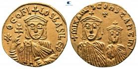 Theophilus, Constantine ve Michael II AD 829-842 ile birlikte.  İstanbul.  Solidus AV