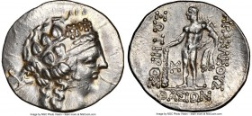 LOWER DANUBE. Imitating Thasos. 2nd-1st centuries BC. AR tetradrachm (32mm, 11h). NGC Choice AU. After 146 BC. Head of Dionysus right, crowned with iv...