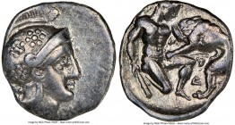 CALABRIA. Tarentum. Ca. 380-280 BC. AR diobol (12mm, 12h). NGC Choice VF. Ca. 325-280 BC. Head of Athena right, wearing crested Attic helmet decorated...