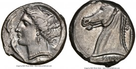 SICILY. Siculo-Punic. Ca. 320-300 BC. AR tetradrachm (25mm, 16.94 gm, 11h). NGC AU 2/5 - 4/5. Head of Tanit-Persephone left, hair wreathed with reeds,...