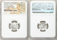MACEDONIAN KINGDOM. Alexander III the Great (336-323 BC). AR drachm (18mm, 4.36 gm, 12h). NGC AU 5/5 - 4/5. Posthumous issue of Colophon, 310-301 BC. ...