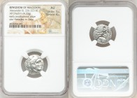 MACEDONIAN KINGDOM. Alexander III the Great (336-323 BC). AR drachm (17mm, 4.33 gm, 7h). NGC AU 5/5 - 4/5. Posthumous issue of Magnesia ad Maeandrum, ...